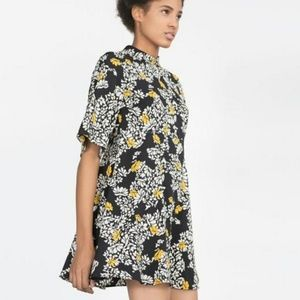Zara Basic floral fit and flare mini dress